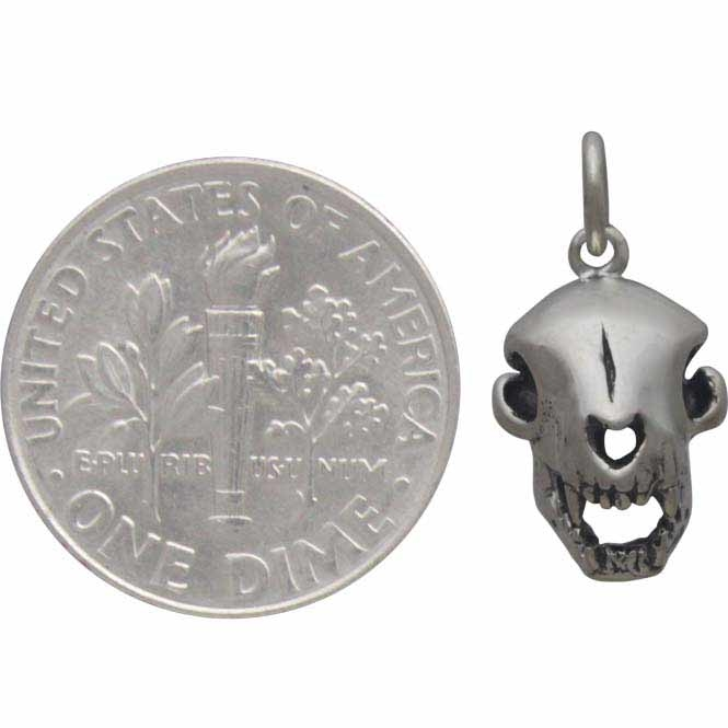 Sterling Silver Cat Skull Charm - Halloween Charm 18x9mm