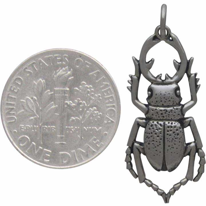 Sterling Silver Stag Beetle Charm - Bug Charm 30x12mm