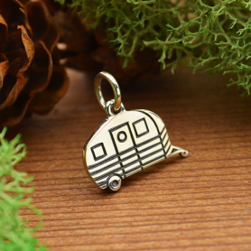 Sterling Silver Camping Trailer Charm 13x13mm