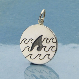 Sterling Silver Beach Charm - Shark Fin in Waves 21x15mm