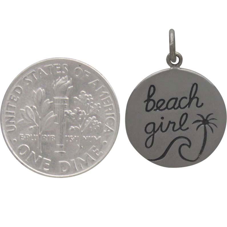 Sterling Silver Beach Charm - Beach Girl Charm 21x15mm