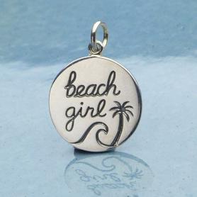 Sterling Silver Beach Charm - Beach Girl Charm