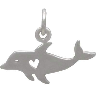Sterling Silver Dolphin Charm with Heart Cutout 14x17mm