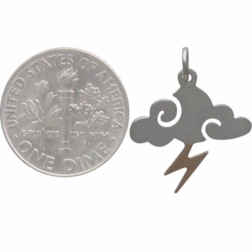 Sterling Silver Cloud Charm w Bronze Lightning Bolt 21x17mm