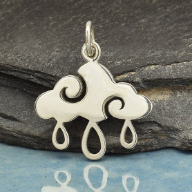 Sterling Silver Cloud Charm with Rain Drops 20x17mm