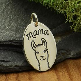 Sterling Silver Mama Llama Charm on disk 20x12mm