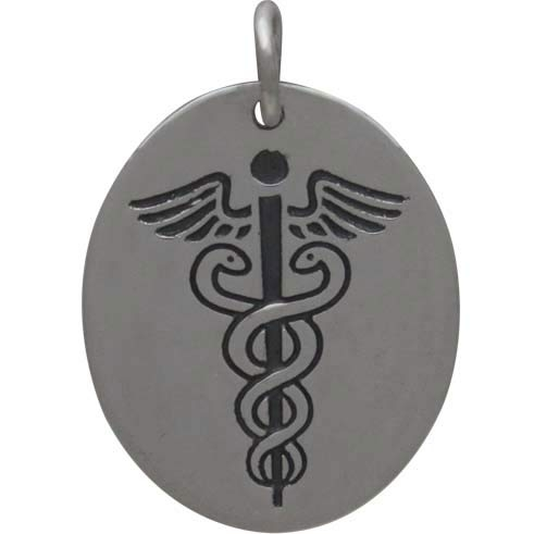 Sterling Silver Medic Staff Charm Etched Oval Disk 21x15mm
