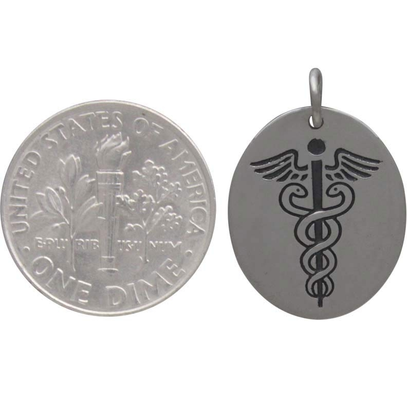 Sterling Silver Medic Staff Charm Etched Oval Disk