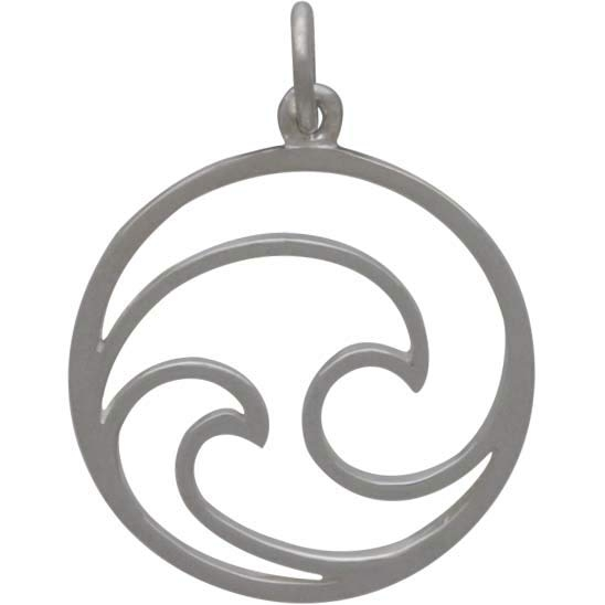 Sterling Silver Openwork Double Wave Charm 24x18mm