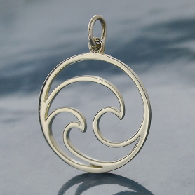 Sterling Silver Openwork Double Wave Charm