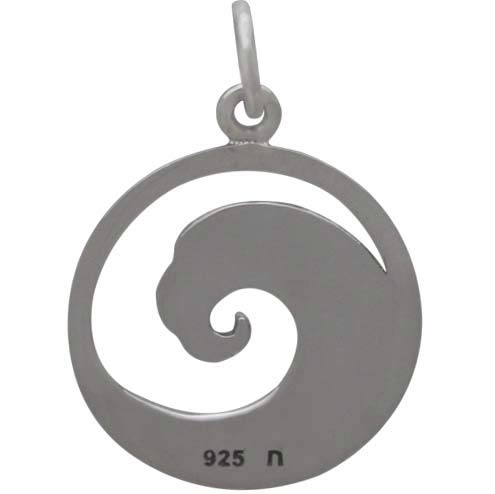 Sterling Silver Curled Wave Charm 21x15mm