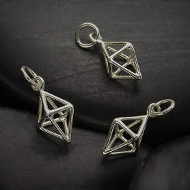 Sterling Silver Cage Diamond 3D Charm 17x8mm
