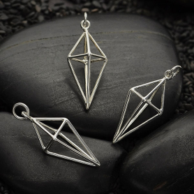 Sterling Silver Cage Kite 3D Charm -29mm