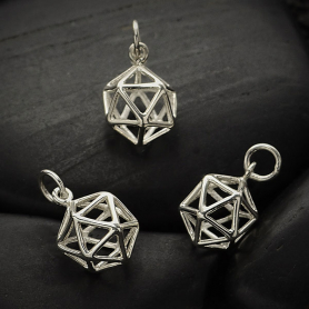 Sterling Silver Icosahedron 3D Charm -17mm