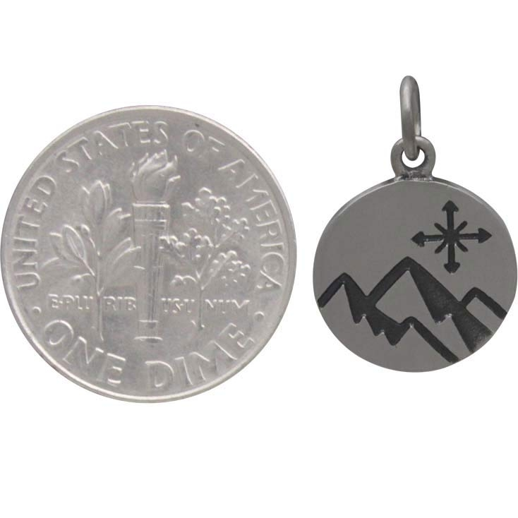 Sterling Silver Mountain Charm with Compass on disk 18x12mm