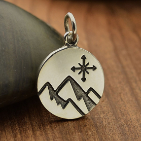 Sterling Silver Mountain Charm with Compass on disk