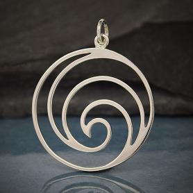 Sterling Silver Openwork Swirl Wave Pendant