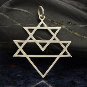 Sterling Silver Sri Yantra Triangle Pendant 31x24mm
