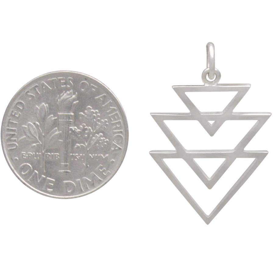 Sterling Silver Stacked Triangle Pendant 26x16mm