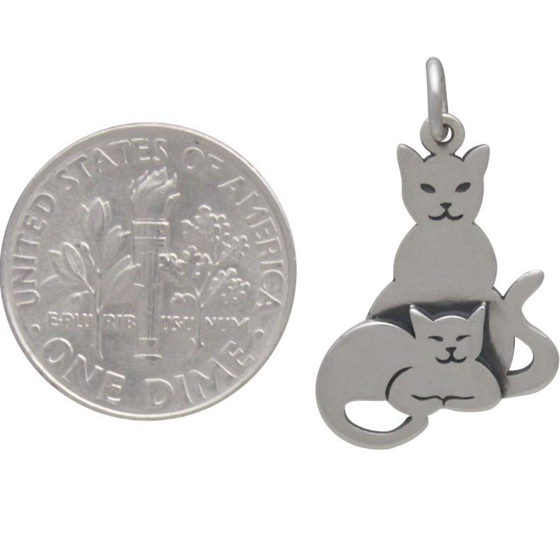 Sterling Silver Two Layer Mom and Baby Cat Charm