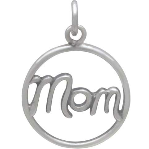 Sterling Silver Mom Charm in Cursive Script 21x15mm