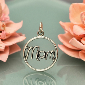 Sterling Silver Mom Charm in Cursive Script 21x15mm