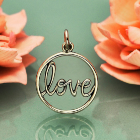 Sterling Silver Word Charm - Love in Cursive Script 21x15mm