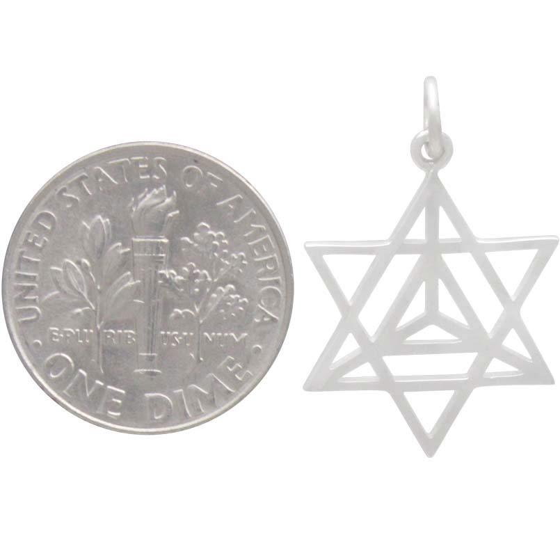 Sterling Silver Openwork Merkaba Star Pendant