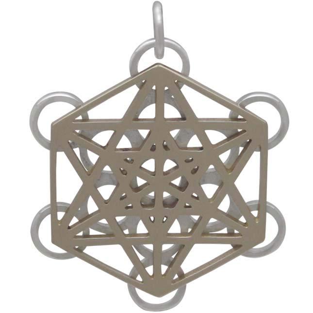 Mixed Metal Metatrons Cube Sacred Geometry Pendant 28x22mm