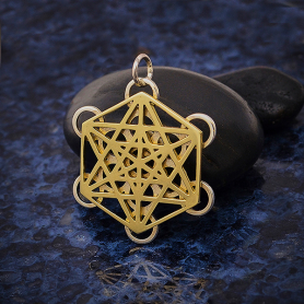 Mixed Metal Metatrons Cube Sacred Geometry Pendant 28x22mm