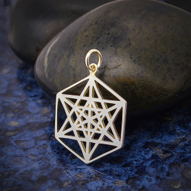 Sterling Silver Sacred Geometry Star Charm 26x18mm