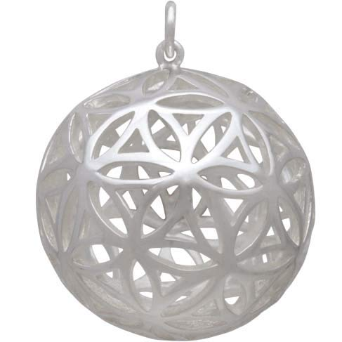 Sterling Silver Flower of Life Sphere Pendant 30x24mm