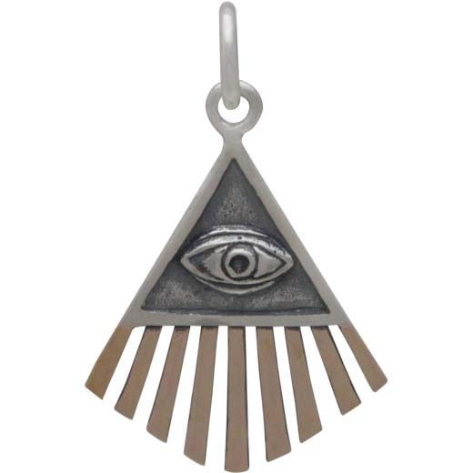 Sterling Silver All Seeing Eye Charm with Bronze 22x14mm