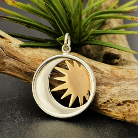 Sterling Silver Moon Charm in a Disk with Bronze Sun 23x17mm