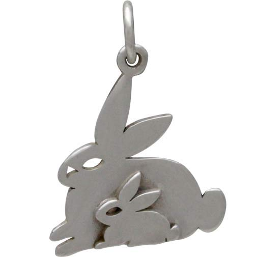 Sterling Silver Two Layer Mom and Baby Bunny Charm