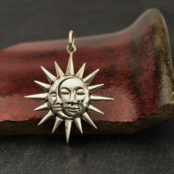 Copper and Brass Sun and Moon Necklace /& Earring Set Sterling Silver