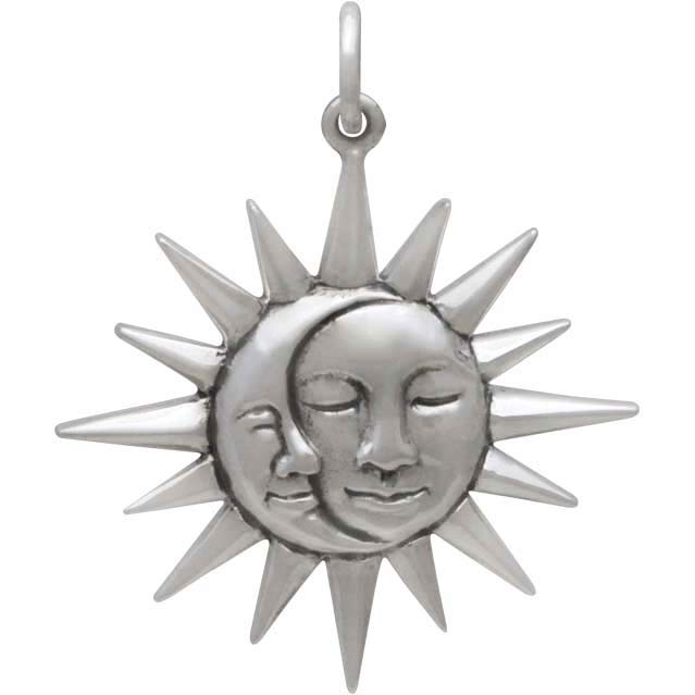 Sterling Silver Moon and Sun Pendant with Faces