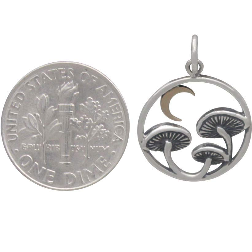 Sterling Silver Mushroom Charm with Bronze Moon 22x15mm