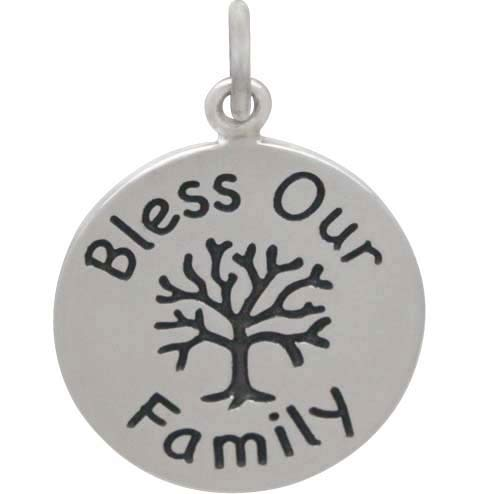 Sterling Silver Message Pendant -Bless Our Family 22x16mm