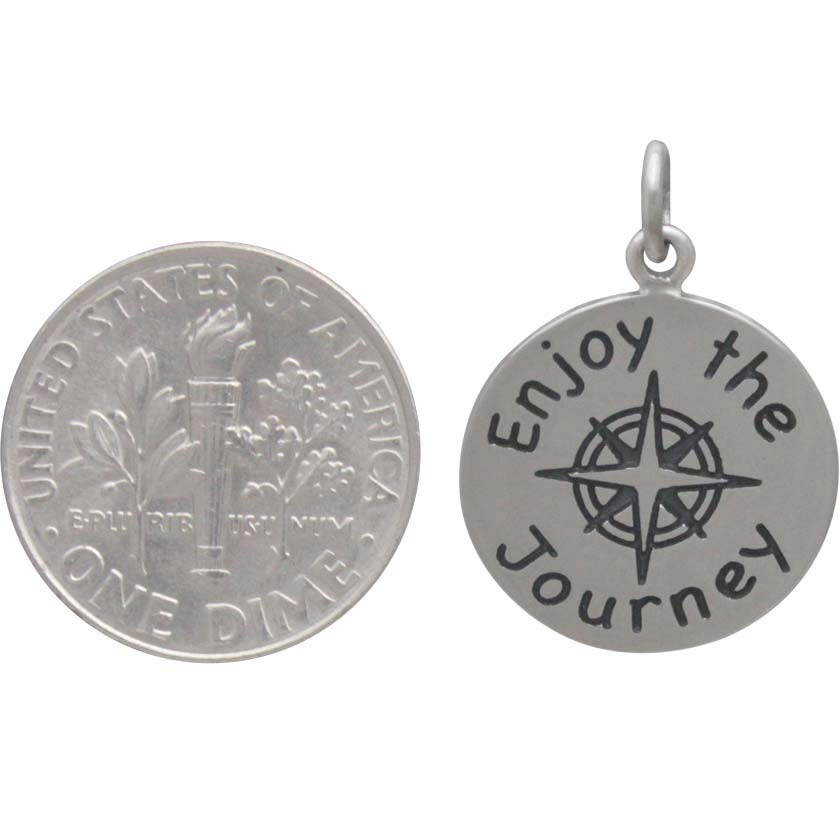 Sterling Silver Message Pendant -Enjoy the Journey 22x16mm