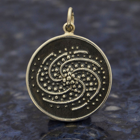 Sterling Silver Spiral Galaxy Charm 24x18mm