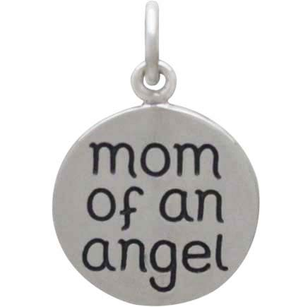 Silver Miscarriage Memorial Charm -Mom of an Angel 19x12mm