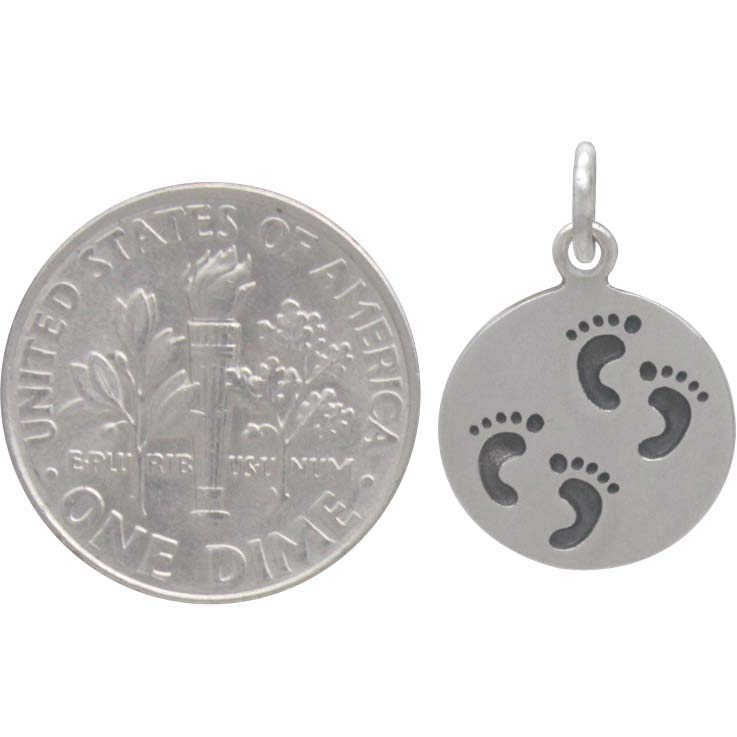 Sterling Silver Twin Footprint Charm on a Disk