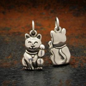 Sterling Silver Lucky Cat Charm -Maneki Neko Charm