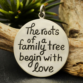 Sterling Silver Family Message Pendant -Roots of a Family