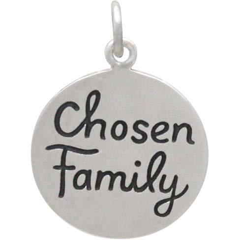 Sterling Silver Message Pendant -Chosen Family