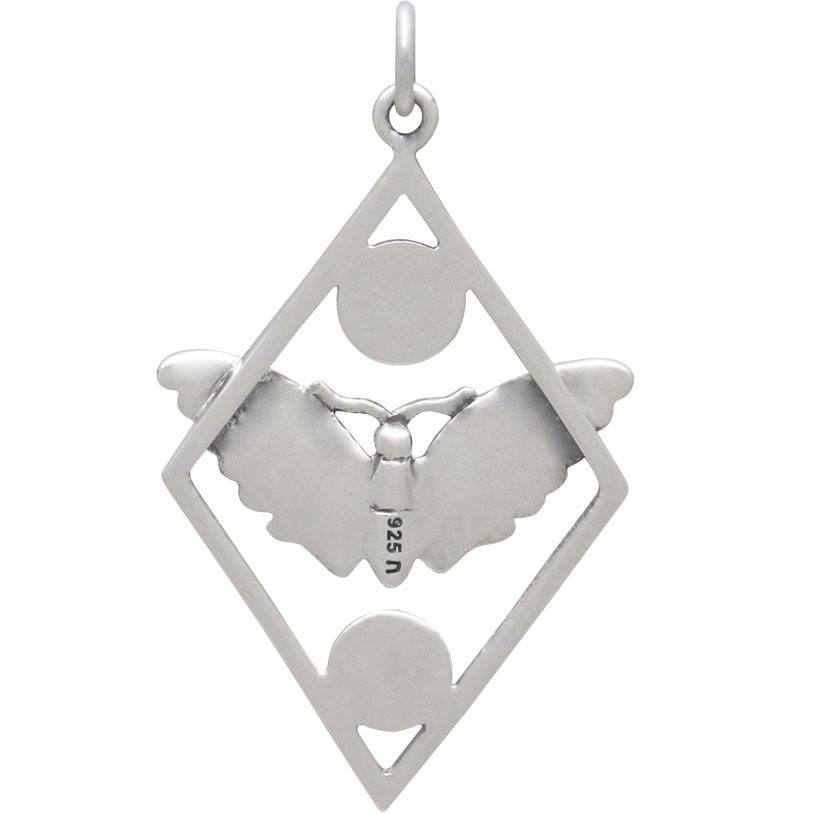 Silver Geometric Moth Charm with Sun and Moon 35x21mm