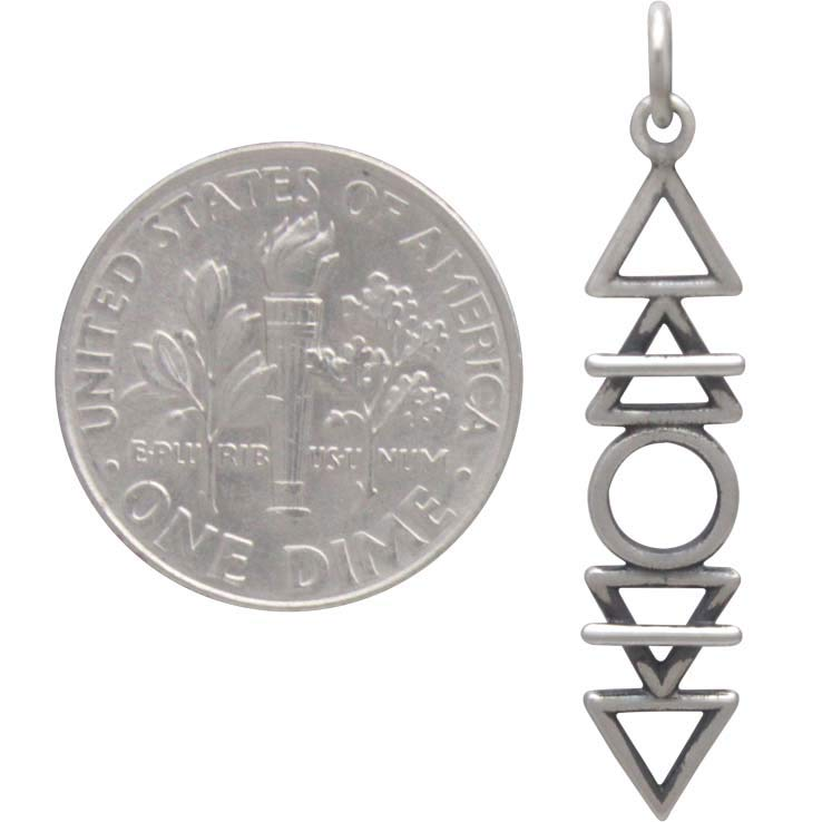 Sterling Silver Stacked Elements Charm 32x6mm