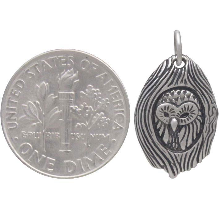 Sterling Silver Owl in a Tree Charm