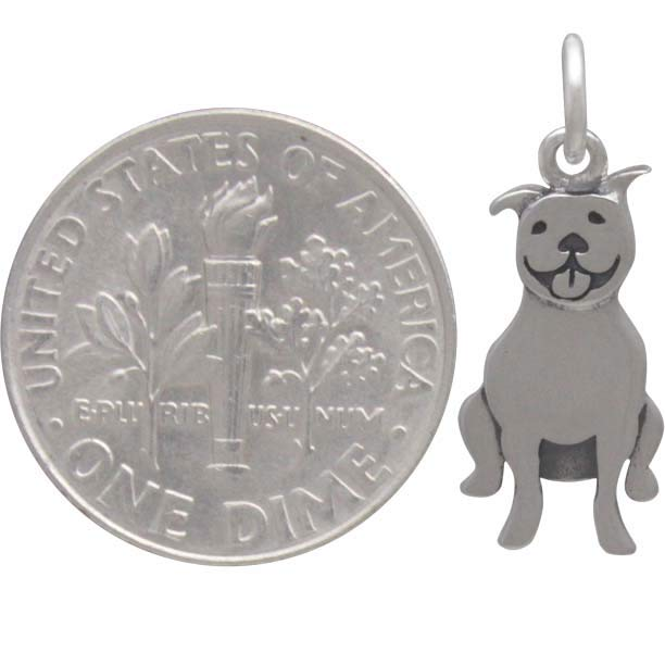Sterling Silver Pitbull Dog Charm